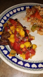 Roasted Peach Salsa over Steak Tips