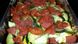 Zucchini & Crookneck squash with tomatoes, onions & garlic - roasted on the grill